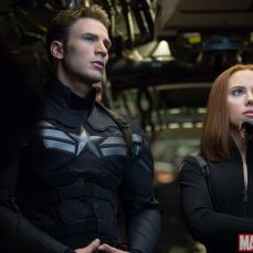 Chris Evans and Scarlett Johansson as Captain America and Black Widow