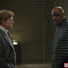 Robert Redford and Samuel L. Jackson as Alexander Pierce and Nick Fury