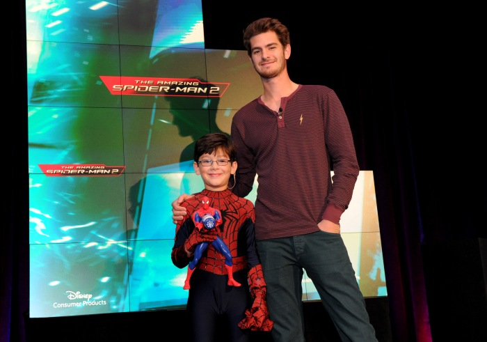 Actor Andrew Garfield, right, and co-star Jorge Vega @ Toy Fair 2014