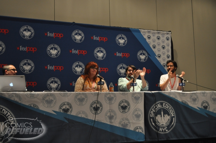 Gail Simone, James Tynion IV, and Greg Pak at Batman 75th Anniversary Panel